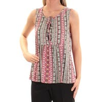SANCTUARY Womens Red Printed Sleeveless Scoop Neck Top  Size: L