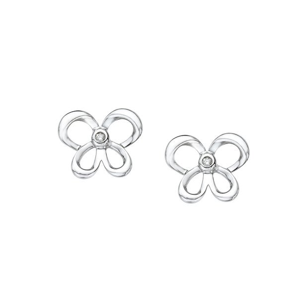 Jessica Simpson Butterfly Earrings with Diamond in Sterling Silver