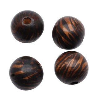 Round Wood Beads Dark Brown And Black Zebra Stripe 18mm (4)