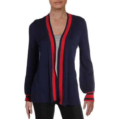 Design History Womens Cardigan Sweater Stripe Ribbed Trim - Pacific Highway With American Tipping