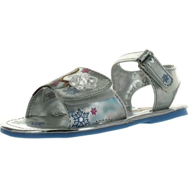 Disney Frozen Girls Let It Go Elsa And Anna Fashion Bejeweled Fashion Sandals - Silver