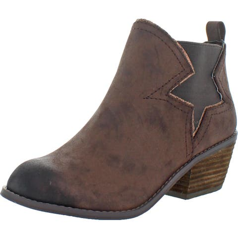 Not Rated Women's Lillian Faux Leather Slip On Stacked Heel Ankle Bootie - Chocolate