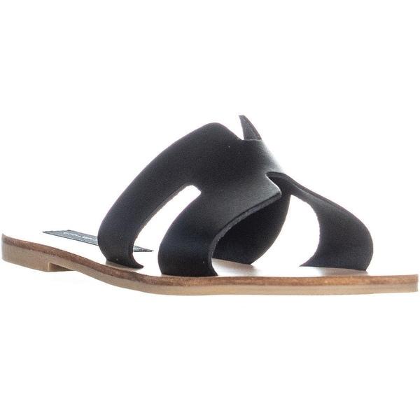 d0e141ba40ae4 Shop STEVEN Steve Madden Greece Flat Sandals, Black Leather - Free ...