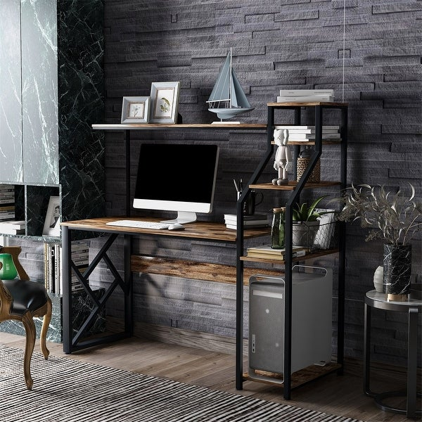 Shop Merax 59 Inches Computer Desk With Hutch And 5-Tier