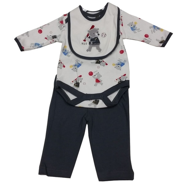 Bon Bebe Baby Boys White Grey Teddy Bear Print Bib Bodysuit 3 Pc Pant Set 3-9M