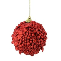 "Set of 3 Retro Red Cherry Holographic Glitter Drenched Christmas Ball Ornaments 3"" (75mm)"
