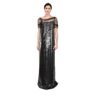 Reem Acra Allover Sequin Embellished Column Formal Evening Gown Dress - 4