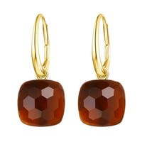 Vedantti Magic Honeycomb Cut Mandarin Garnet Gemstone Magical Leverback Earring