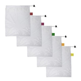 Spigo Reusable And Washable Mesh Produce Bags, 5 Count, 12x14 Inches - White