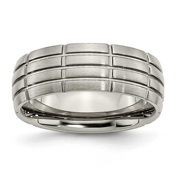 Chisel Grooved Brushed Titanium Ring (8.0 mm)