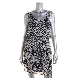City Studio Womens Juniors Printed Blouson Casual Dress - M