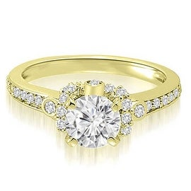 1.07 cttw. 14K Yellow Gold Round Cut Diamond Engagement Ring