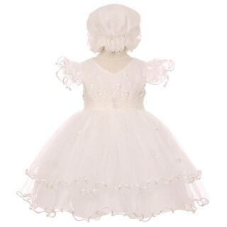Baby Girls Ivory Floral Embroidery Jewel Ruffle Bonnet Flower Girl Dress 3-24M