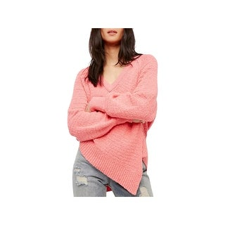 Free People Womens West Coast Pullover Sweater Asymmetrical V-Neck