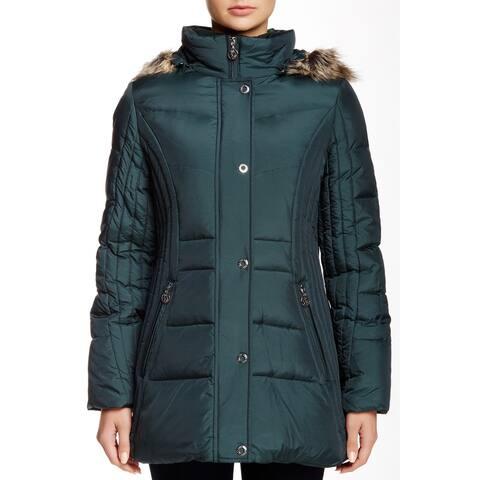 Anne Klein Women's Jacket Green Size Medium M Faux-Fur Hooded Puffer