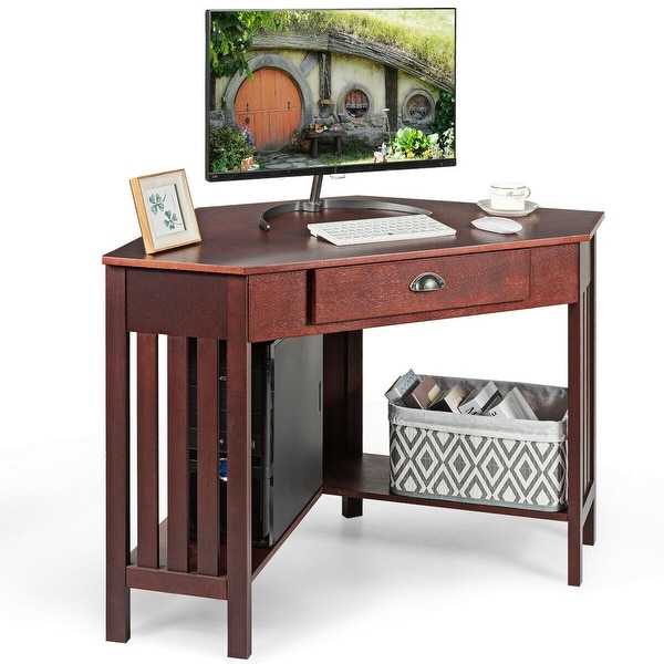 Corner Desk With Drawer Home Office Computer PC Table Study Work Station Brown