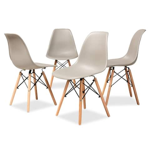 Jaspen Modern and Contemporary Plastic and Wood Dining Chair Set (4pc)