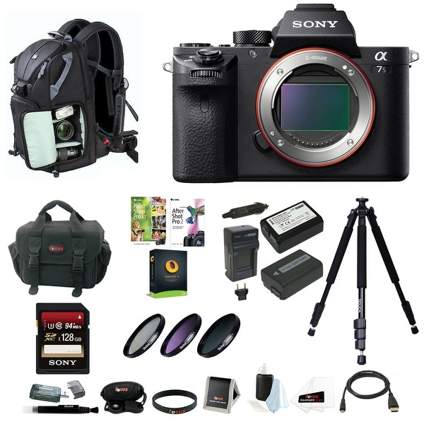 Sony Alpha a7SII Mirrorless Digital Camera (Body Only) w/ 128GB SD Card & Photo/SLR Sling Backpack