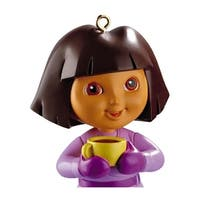 Carlton Cards Heirloom Dora the Explorer with Yellow Tea Cup Christmas Ornament - WHITE