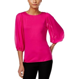 Vince Camuto Womens Pullover Top Sheer Long Sleeves