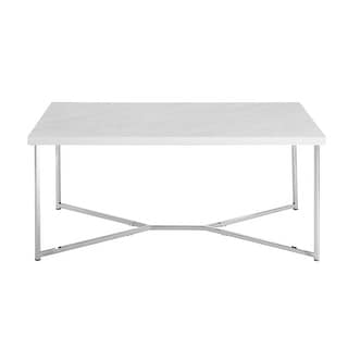 "Delacora WE-BDF42LUXWM  42"" Long Faux-Marble Coffee Table with Metal Y-Leg Base"