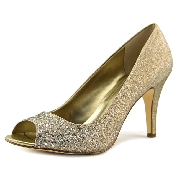 Style & Co Mona Women Round Toe Suede Gold Heels