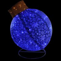 "36"" LED Lighted Blue Twinkling Glitter Ball Ornament Christmas Yard Art Decoration"
