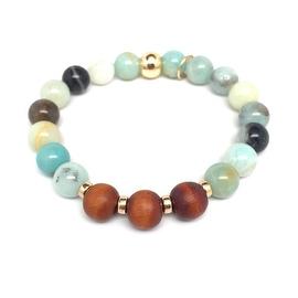 Green Amazonite 'Wonder' stretch bracelet 14k Over Sterling Silver