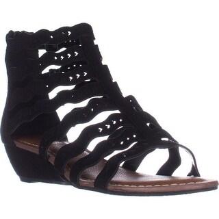 Carlos Carlos Santana Kitt Low Heel Wedge Sandals, Black