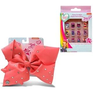 Jojo Siwa Coral Signature Bow with Rhinestones & Jojo Siwa Press On Nails 12Pcs In A Box (2 Items)
