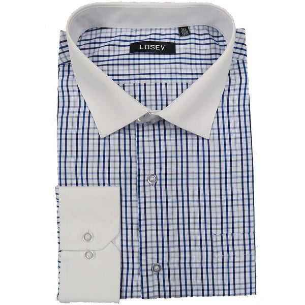 Men's Regular/Fashion Fit Long-Sleeve Multi Pattern Botton-Front Dress Shirt (Blue Large Plaid)