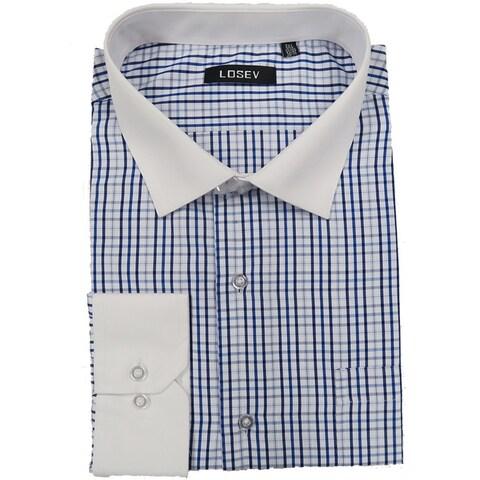 Men's Long Sleeve & Collar Dress Shirts (Blue Large Plaid)