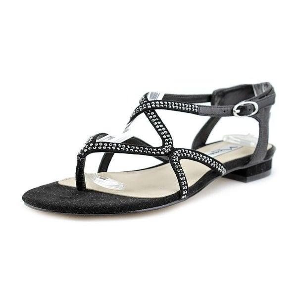 Nina Kyerra Women Open-Toe Leather Black Slingback Sandal
