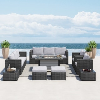 Corvus Trey 13-piece Wicker Patio Sectional Sofa Set with Fire pit table