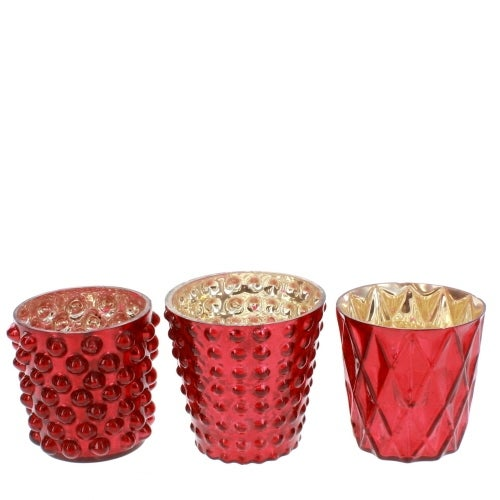 Red Mercury Glass Votive Cups