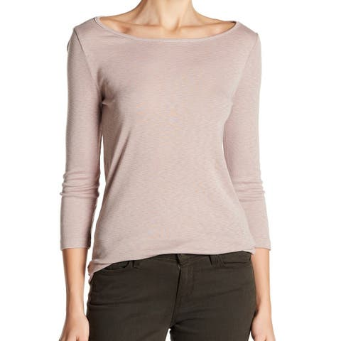 Three Dots Pink Ballet Womens Size Large L Boat Neck Hannah Knit Top