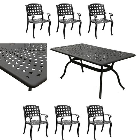 Modern Ornate Outdoor Mesh Aluminum 67-in Rectangular Patio Dining Set with Six Chairs