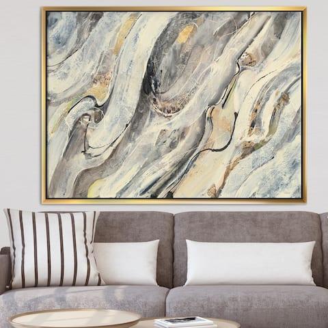 Designart 'Glam Golden Falls' Modern & Contemporary Framed Canvas - Brown