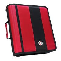 Case-It Classic O-Ring Zipper Binder, Red, 2 Inches