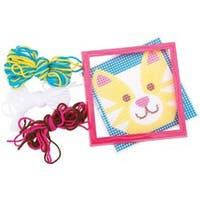 """6""""X6"""" Stitched In Yarn - Cat Learn To Sew Needlepoint Kit"""