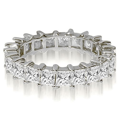 3.50 cttw. 14K White Gold Princess Shared-Prong Diamond Eternity Ring,HI,SI1-2
