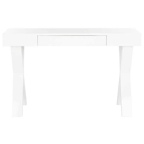 Safavieh Alessia Mid Century Lacquer White One Drawer Vanity Desk. Opens flyout.