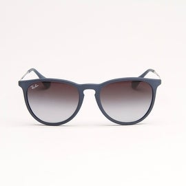 Blue Rubberized Sunglasses With Grey Gradient Lens