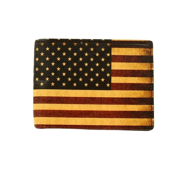 Nocona Western Wallet Mens Leather USA Flag Bi-fold Red White