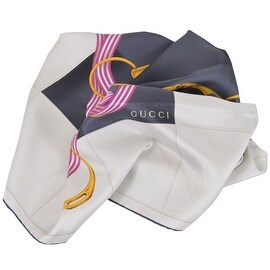 Gucci Women's 352213 Silk Cream Black Interlocking GG Twill Neck Scarf