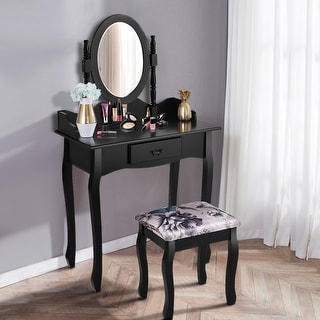 Costway Vanity Wood Makeup Table Stool Jewelry Desk White/Black