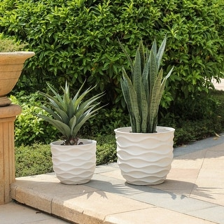 Link to Kayu 2-piece Wavy Design White MgO Planters by Havenside Home Similar Items in Planters, Hangers & Stands