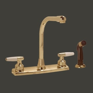 Widespread Kitchen Faucet Brass High Neck 2 Handles Sprayer