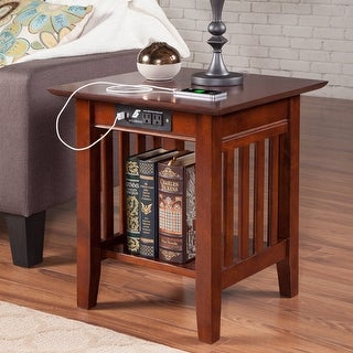Mission End Table with Charging Station in Walnut