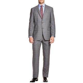 Hart Schaffner Marx Mens New York Classic Fit Plaid Wool Suit 44L Grey Pants 38W